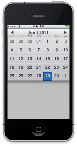 TapkuLibraryのカレンダー