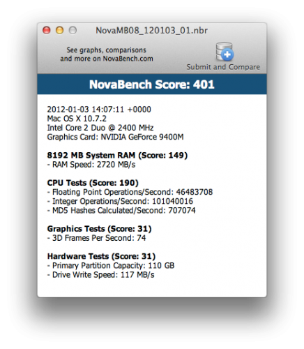 NovaBench MacBook (Late 2008) 120GB SSD 8GB MEMORY