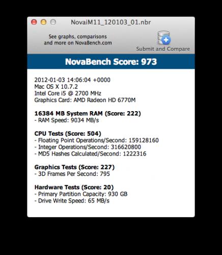 NovaBench iMac (Mid 2011) 1TB HDD 16GB MEMORY