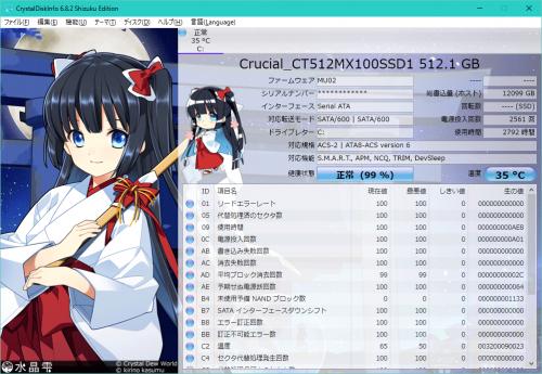 CrystalDiskInfo Crucial MX100 512GB
