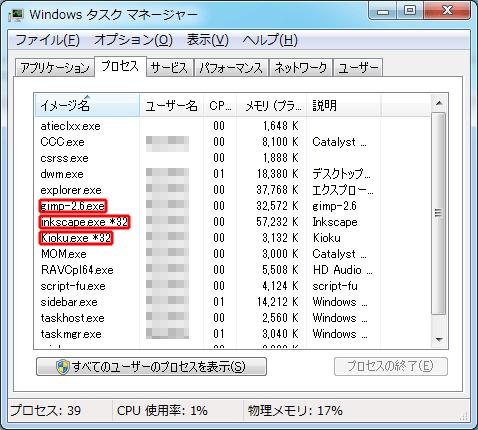 タスクマネージャー/GIMP・Inkscape・KIOKU